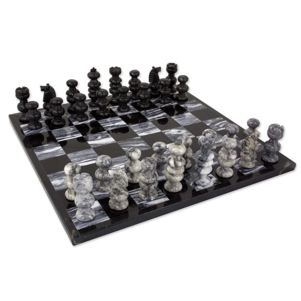 Handmade 'Check in Gray' Onyx and Marble Chess Set (Mexico)