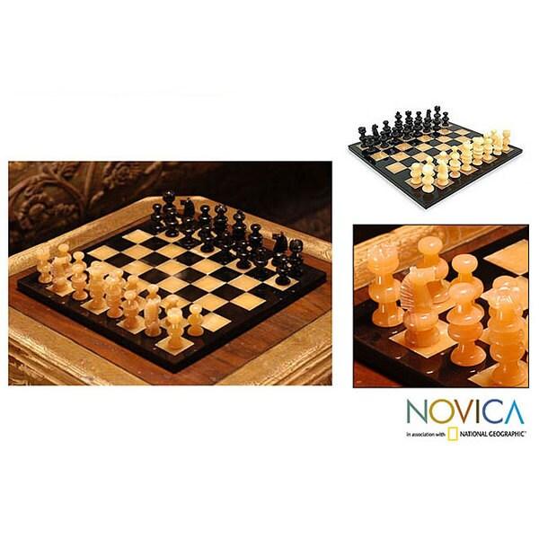 'Orange Onyx and Black' Chess Set (Mexico)