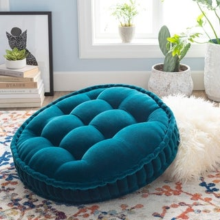 The Curated Nomad Atlanta 30-inch Teal Round Tufted Velvet Floor Pillow
