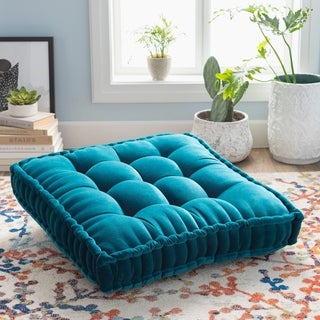 The Curated Nomad Atlanta 30-inch Teal Square Tufted Velvet Floor Pillow