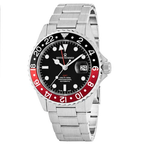 Revue Thommen Men's 17572.2136 'Diver' Black Dial Stainless Steel GMT Automatic Watch
