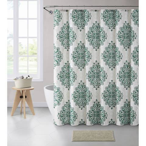 VCNY Home Tranquility Medallion Shower Curtain Bath Bundle
