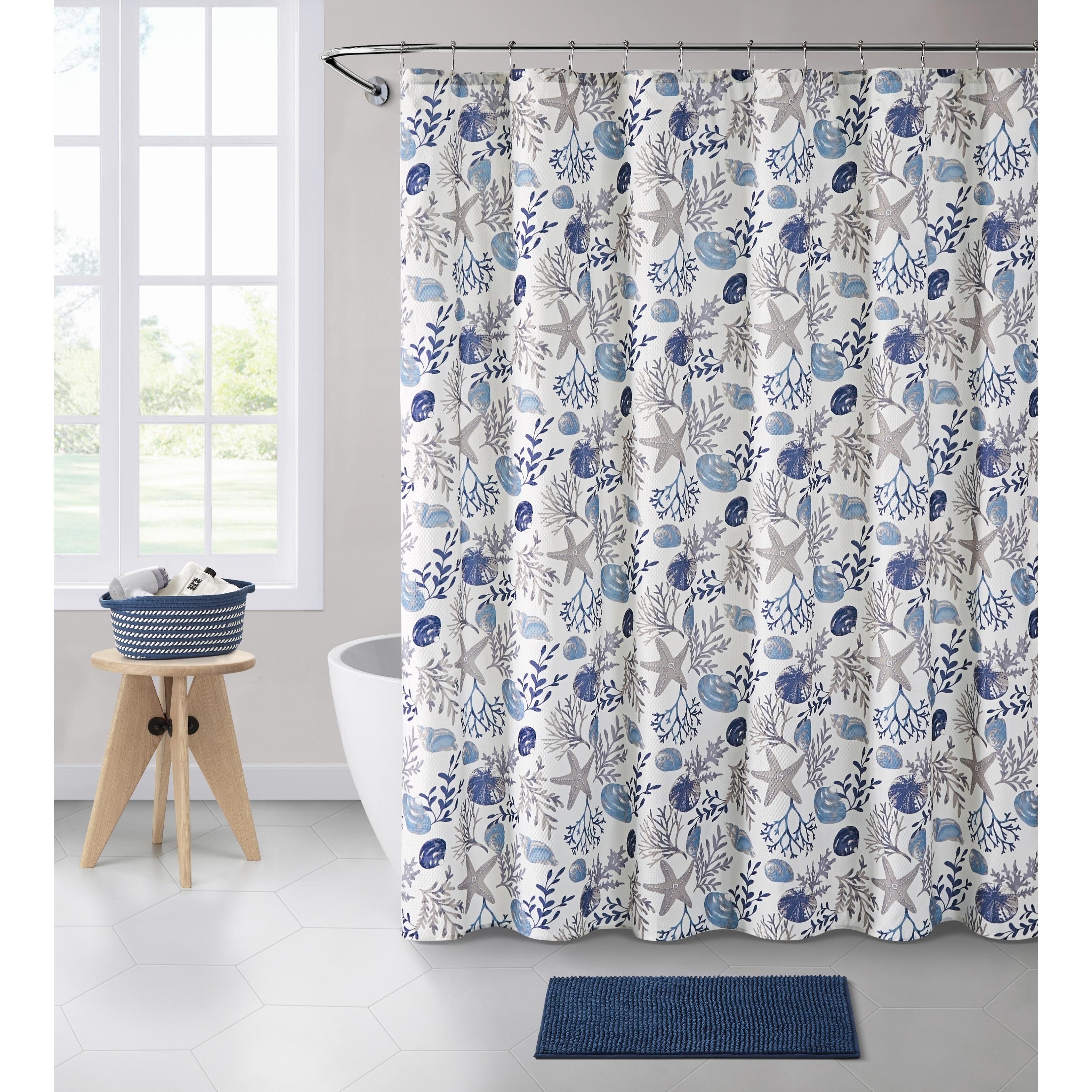 Vcny Home Antigua Seashell Shower Curtain Bath Bundle