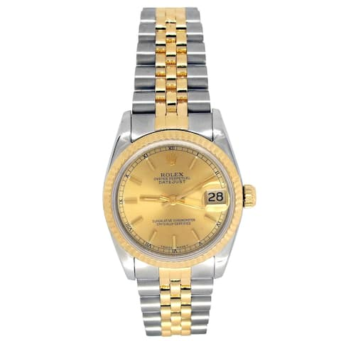 Pre-owned 31mm Rolex 18k Yellow Gold and Stainless Steel Oyster Perpetual Datejust Watch - N/A - N/A