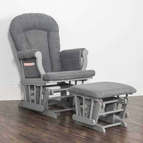 Forever Eclectic Cozy Glider Rocker and Ottoman in Gray