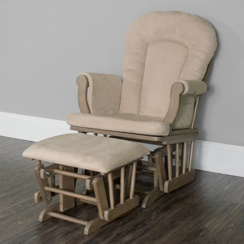 Forever Eclectic Cozy Glider and Ottoman in Heather and Beige