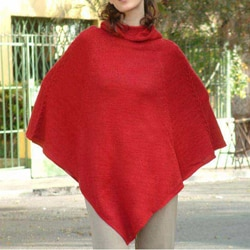 Handmade 'Red Riding Hood' Alpaca Wool Poncho (Peru)