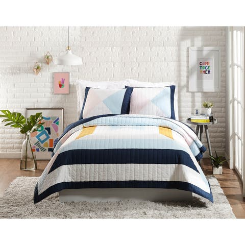 Makers Collective Diamond Patchwork Full/Queen Quilt Set, 3 Pieces