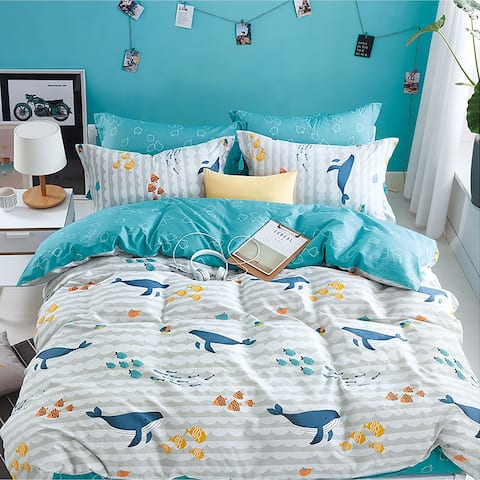 Porch & Den Kenai Ocean Cotton 3-piece Queen/Full Comforter Set