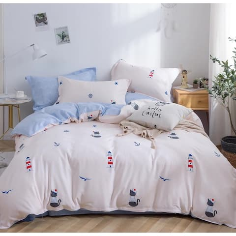 Ocean Eye Kids 100% Cotton 3 Pieces Comforter Set Queen/Full