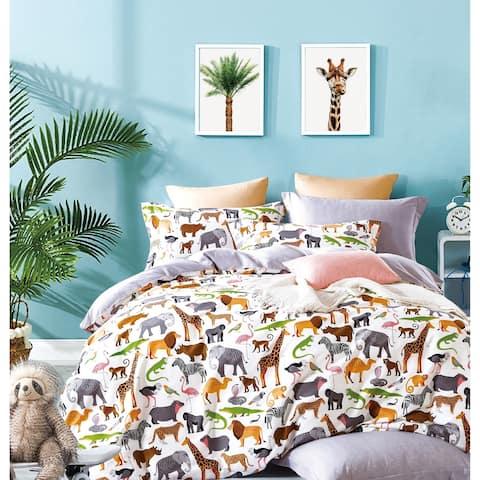 Porch & Den Brauner Animal Print Cotton 3-piece Queen/Full Comforter Set