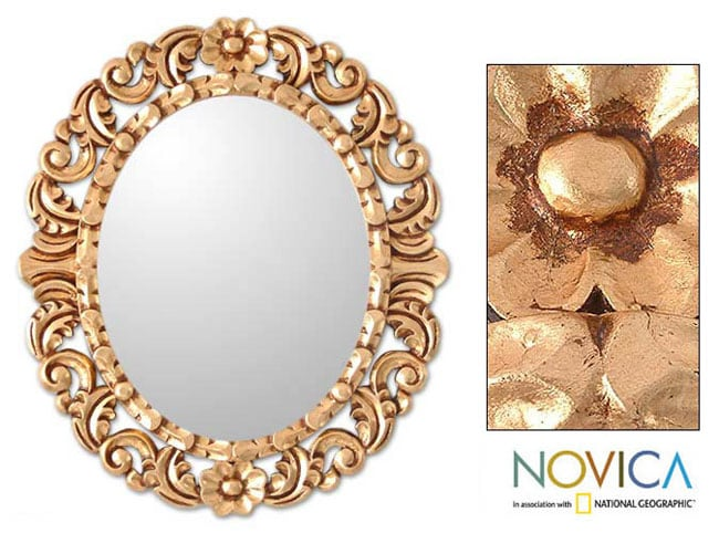 Garland Mohena Bronze Leaf Gold Floral Accent Wall Mirror (Peru)