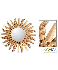 Handmade Bronze Sun Mohena Mirror (Peru)