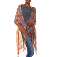 Bird of Paradise Handmade Batik Multicolor Gossamer Knotted Fringe Silk Shawl Wrap (Indonesia)