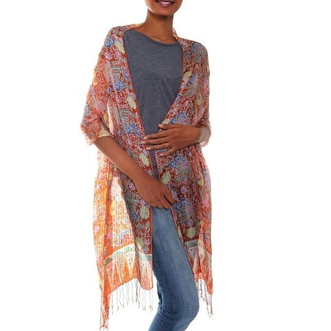 Bird of Paradise Handmade Batik Multicolor Gossamer Knotted Fringe Silk Shawl Wrap