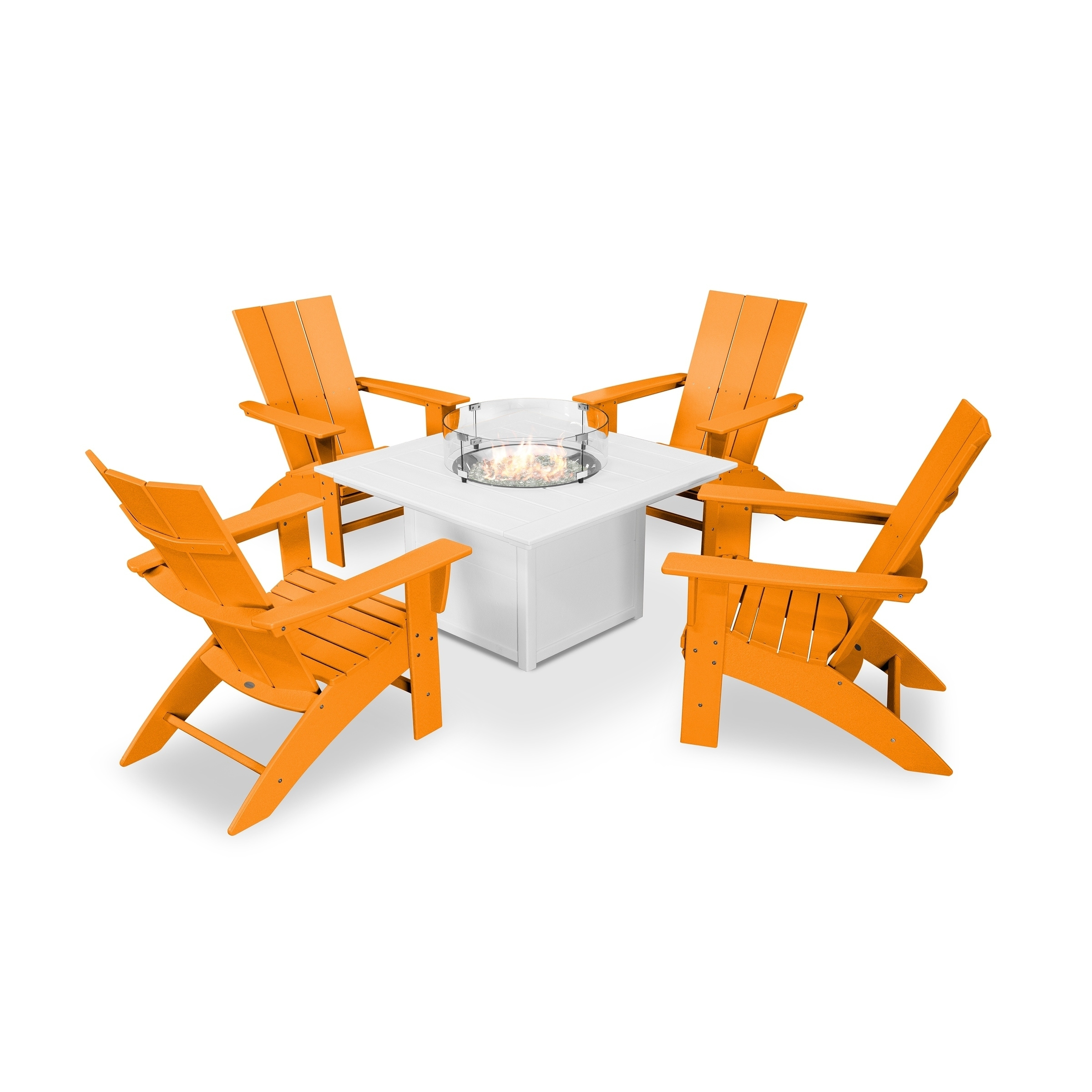 Image of: Shop Black Friday Deals On Modern Curveback Adirondack 5 Piece Conversation Set With Fire Pit Table Overstock 28594222