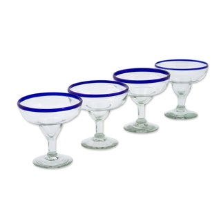 Set of 4 Clear Cobalt Blue Barware Handmade Cocktail Margarita Glasses (Mexico)
