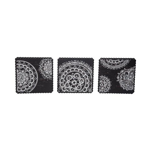 Henna Print Wood Bead Wall Art Set Of 3