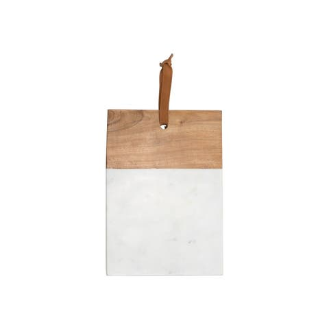 White Marble Wood Square Cutting Board Small