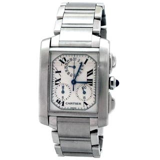 Pre-owned Large Stainless Steel Cartier Tank Francais Chrono Watch - N/A - N/A