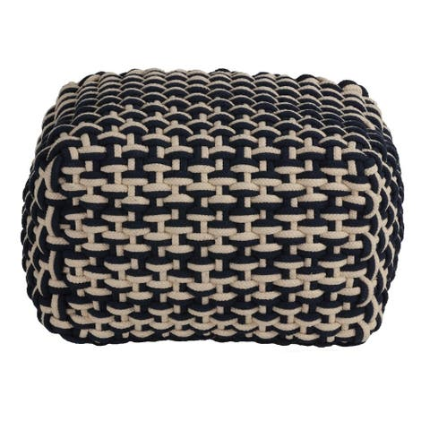 Cortesi Home Griffin Rope Pouf Ottoman, Navy and Cream