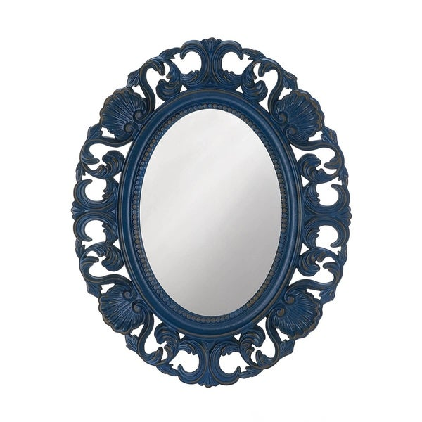 Vintage Style Blue Oval Wall Mirror