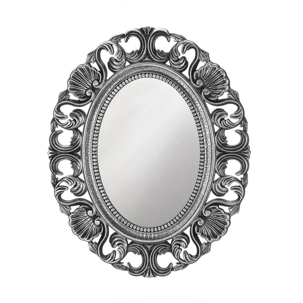 Vintage Style Silver Oval Wall Mirror