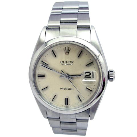 Pre-owned 34mm Rolex Stainless Steel Oysterdate Vintage Watch - N/A