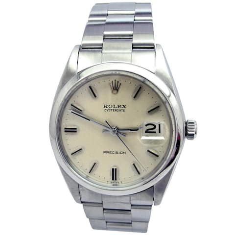 Pre-owned 34mm Rolex Stainless Steel Oysterdate Vintage Watch