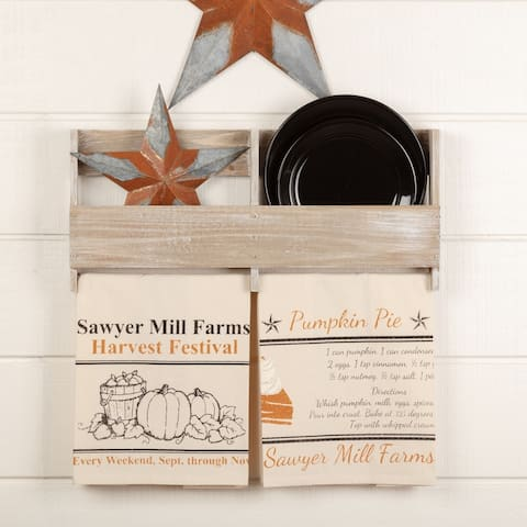 Sawyer Mill Charcoal Harvest Muslin Unbleached Natural Tea Towel Set of 2 19x28 - Tea Towel 28x19