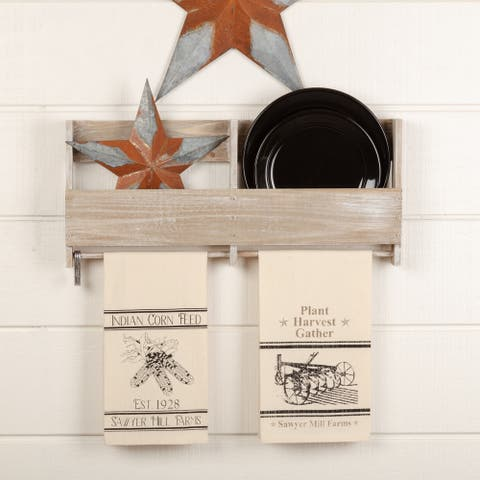 Sawyer Mill Charcoal Plow & Corn Muslin Unbleached Natural Tea Towel Set of 2 19x28 - Tea Towel 28x19