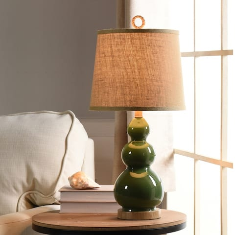 The Curated Nomad Nayla Nautical Green Table Lamp with Burlap Shade