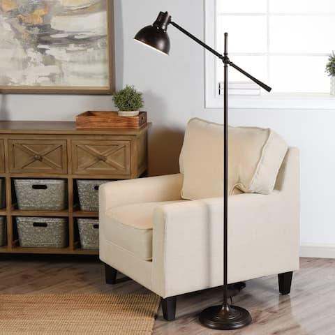 Carbon Loft DeMille Black Steel 1-light Adjustable Arm Floor Lamp