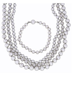 Faux Pearl 4-piece Necklace and Bracelet Set