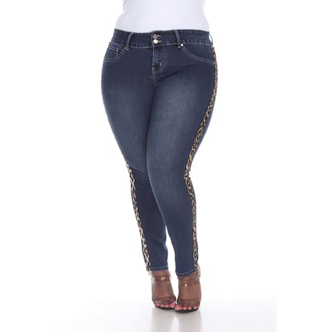 White Mark Women's Plus Size Super Stretch Denim with Cheetah Pannel