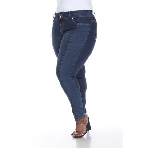 White Mark Women's Plus Size Super St retch Denim with Leopard Pannel