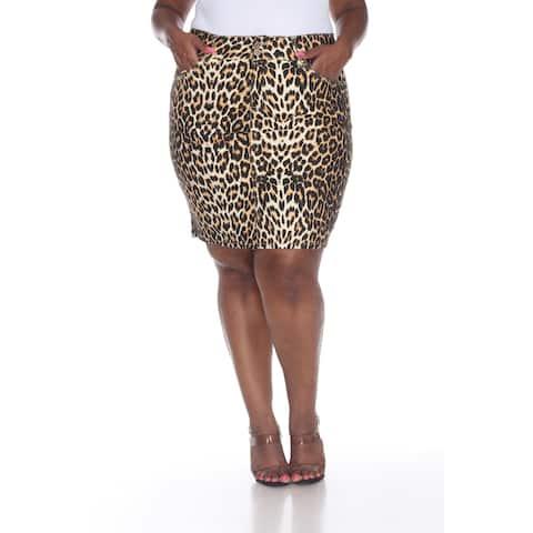White Mark Women's Plus Size Printed Denim Skirt