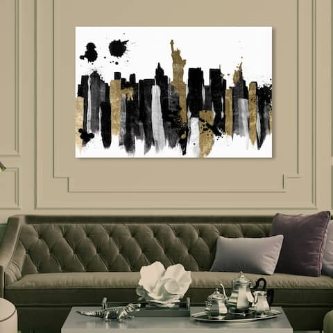 Oliver Gal 'Glamorous New York' Abstract Wall Art Canvas Print - Gold, Black