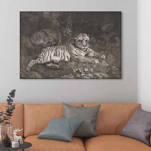 Oliver Gal 'G Stubbs - A Tiger Sleeping and a Leopard 1788' Animals Wall Art Canvas Print - Gray, Black