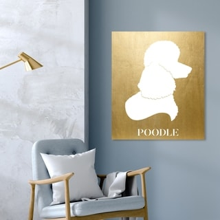 Oliver Gal 'Poodle Inverted' Animals Wall Art Canvas Print - Gold, White