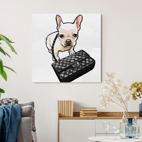 Oliver Gal 'Classy Frenchie' Animals Wall Art Canvas Print - Brown, Black
