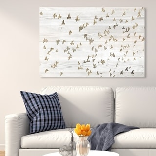 Oliver Gal '28635 Birds Fly High' Animals Wall Art Canvas Print - Gold, White