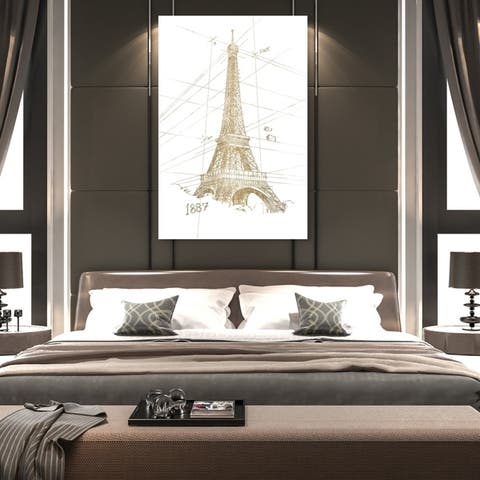 Oliver Gal 'Golden Eiffel Tower' Architecture and Buildings Wall Art Canvas Print - Gold, White