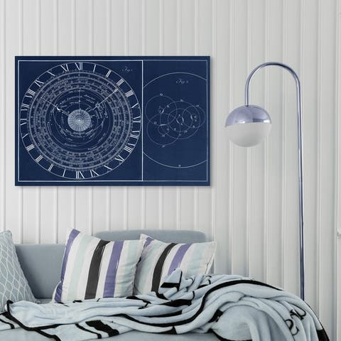 Oliver Gal 'Astronomical Clock' Astronomy and Space Wall Art Canvas Print - Blue, White
