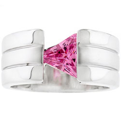 Kate Bissett Silvertone Triangle Cubic Zirconia Cocktail Ring