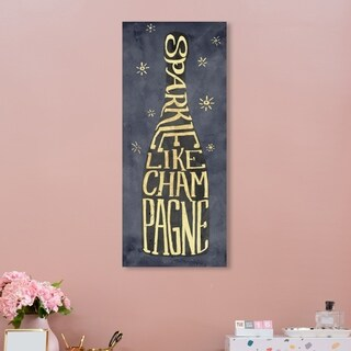 Oliver Gal 'Sparkle Like Champagne' Drinks and Spirits Wall Art Canvas Print - Gold, Gray