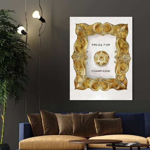 Oliver Gal 'Press For Champagne' Drinks and Spirits Wall Art Canvas Print - Gold, White