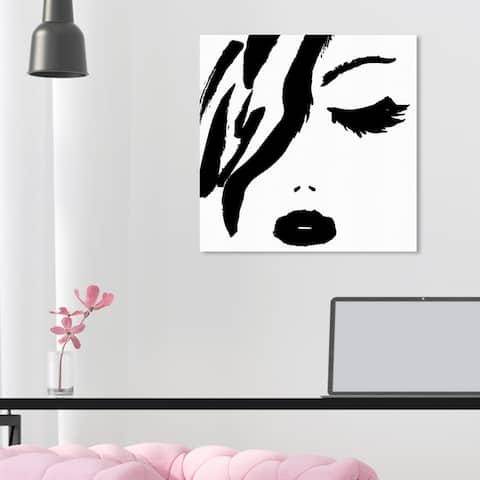 Oliver Gal 'All Black Lipstick' Fashion and Glam Wall Art Canvas Print - Black, White