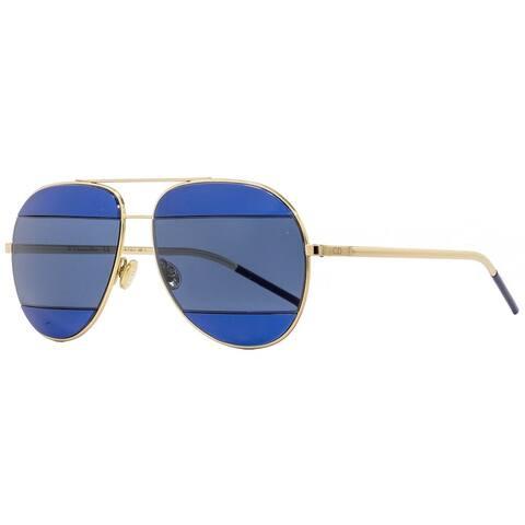 Dior Split2 000KU Womens Gold/Dark Blue 53 mm Sunglasses - Gold/Dark Blue