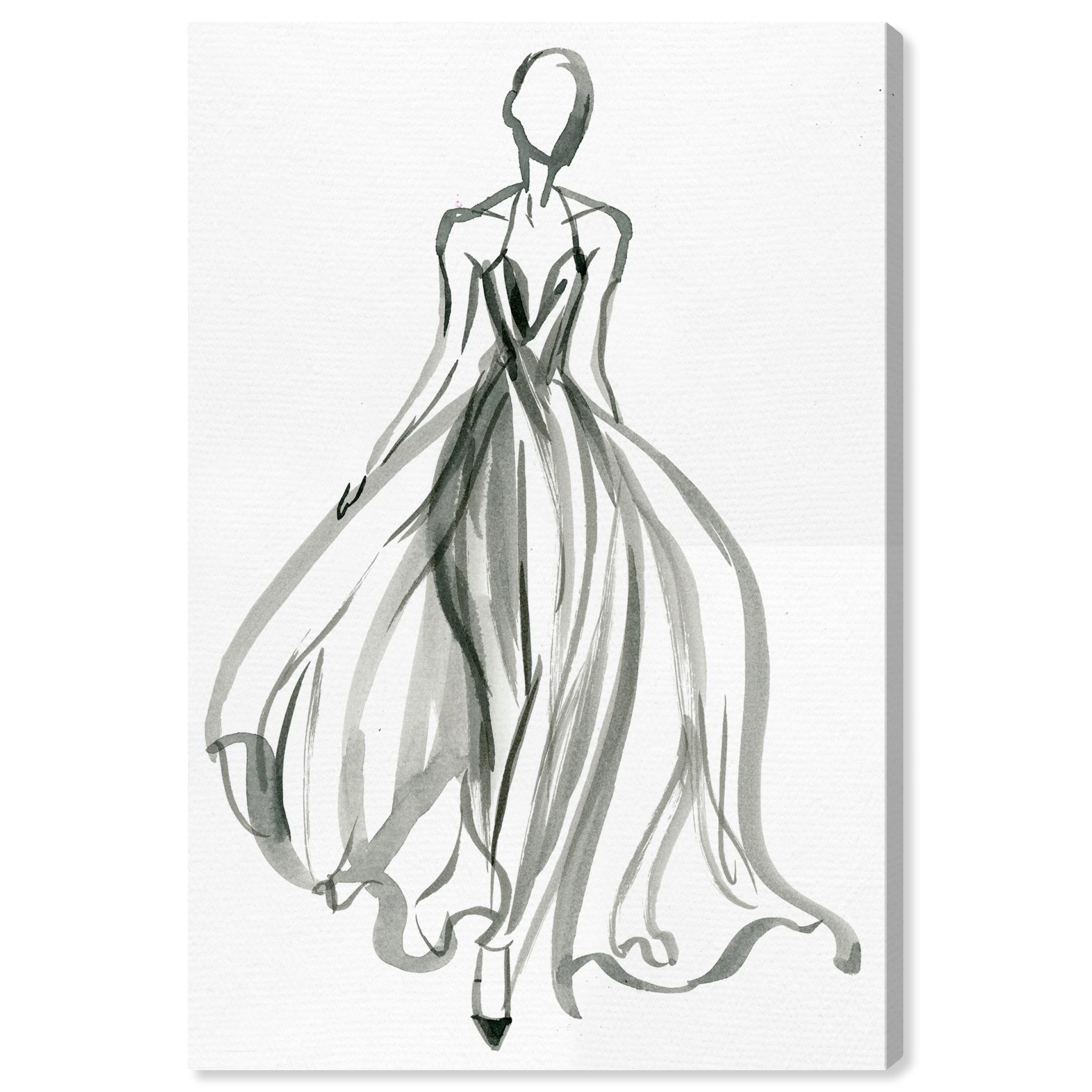 Shop Oliver Gal Elegant Dress Ink Iv Fashion And Glam Wall Art Canvas Print Black White Overstock 28596233